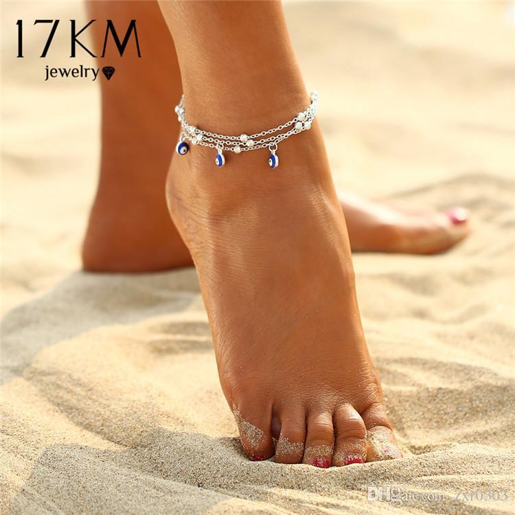 2 стиль турецкие глаза бусины ножные браслеты для женщин 2017 сандалии кулон женщины ножной браслет Браслет ног ювелирные изделия подарок