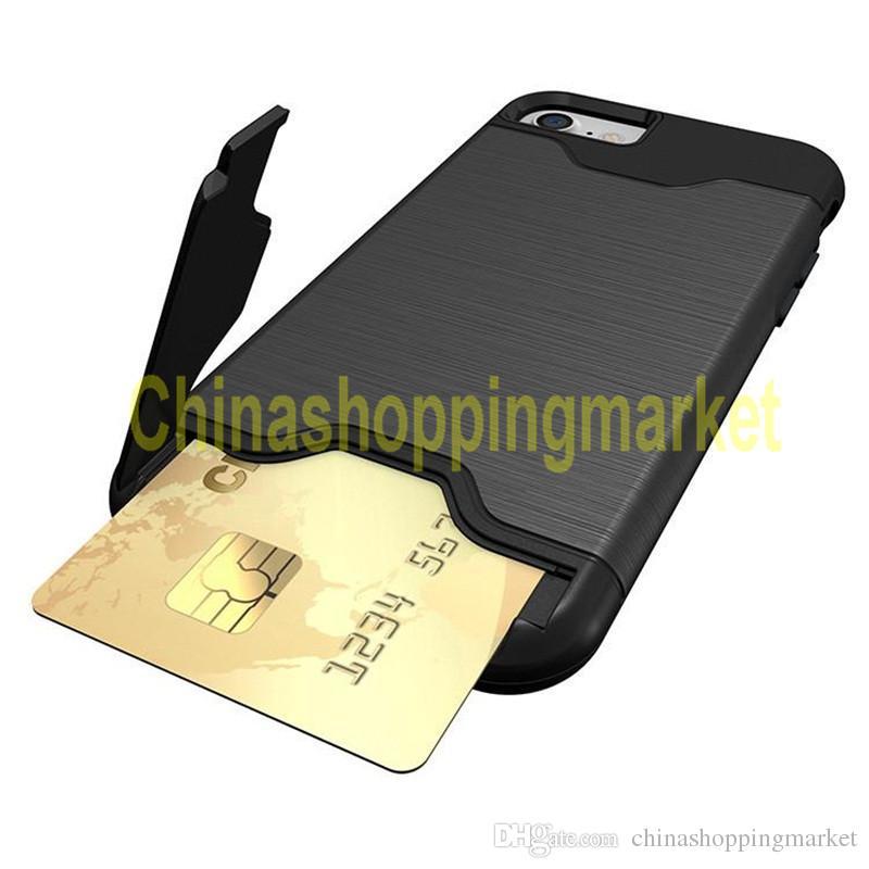 Бумажник слот для карты iPhone 7 Plus samsung note 5 Note 7 Бронированный чехол, задняя крышка с жестким корпусом, подставка с подставкой