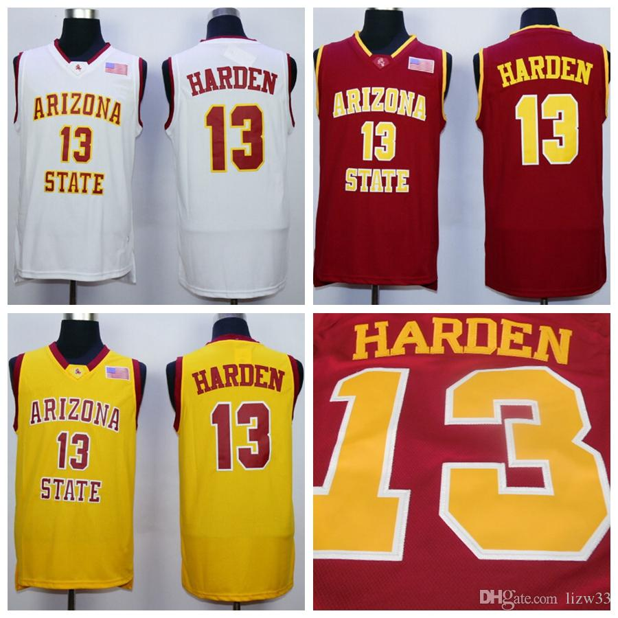 033c4f97621 2019 NCAA Arizona State #13 James Harden College Jersey 13 University  Yellow Red White Best Quality Stitched James Harden Jersey From Lizw33, ...