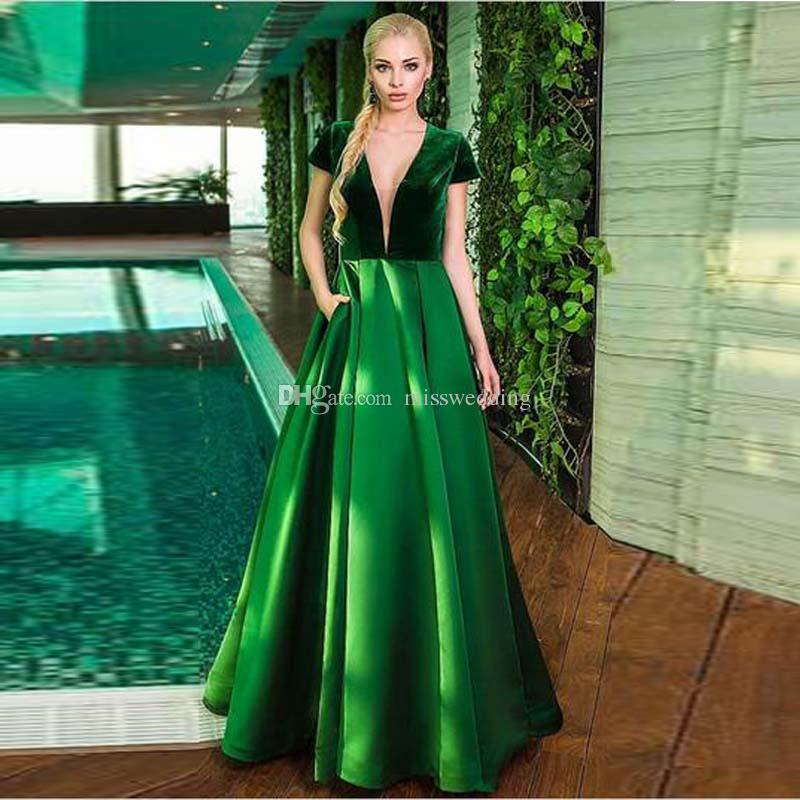 Attractive V Neck Design Fashion Deep Green Burgundy Velvet Prom ...