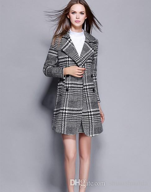 2017 new clothes. Ladies dress. Cashmere. Ladies coat. Women's wool coat. Women's coat. Keep warm. Winter clothing. 100% polyester.Plaid.