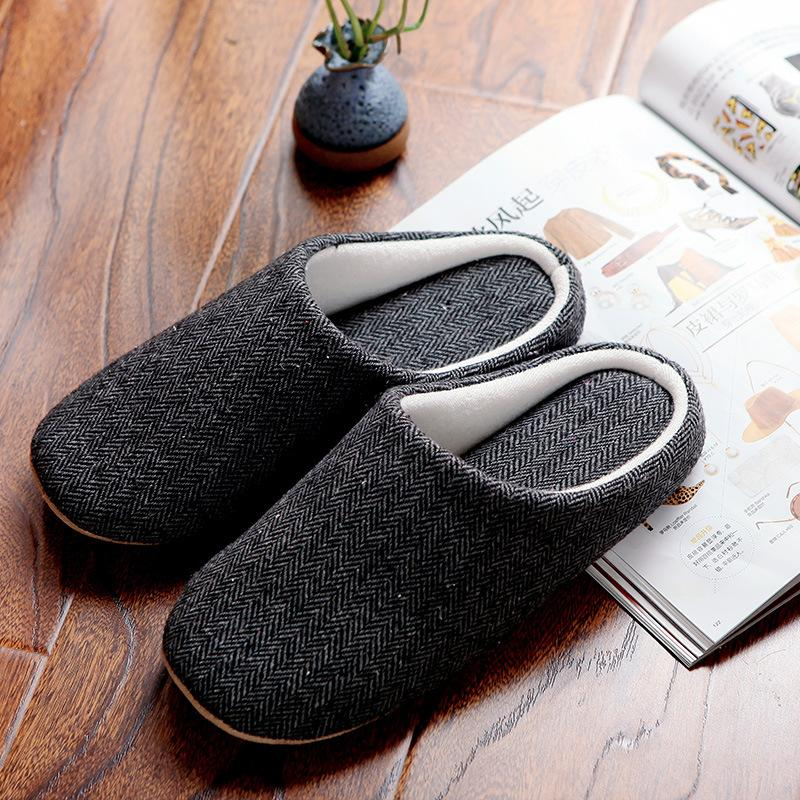 Menu0027s Cotton Black Autumn Home Slippers Indoor Soft Warm Household Slippers  Shoes For Men Mens House Slippers Soft Slippers Fur Slippers Online With ...
