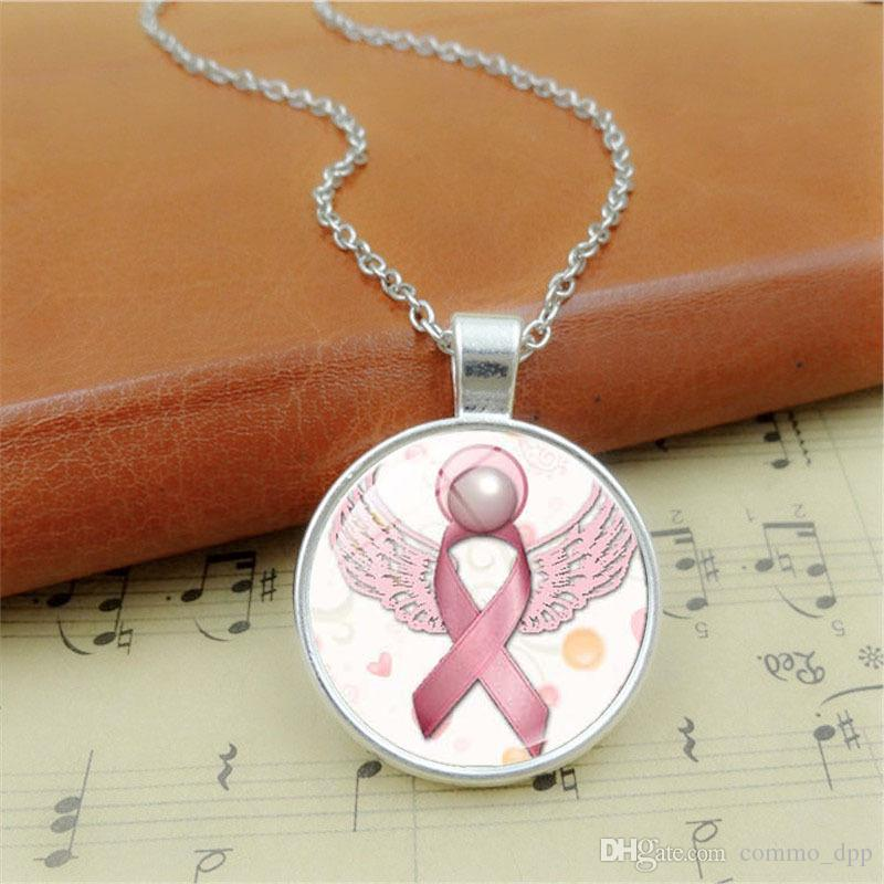 New Arrival Pink Ribbon Glass Gemstone pendant necklaces Breast Cancer Awareness necklace For women&men's Fashion Jewelry