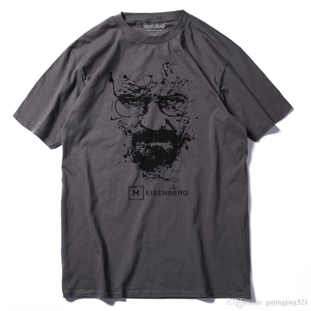 Walter Beyaz Üstleri Pamuk O-Boyun Heisenberg Erkekler T-shirt Kısa Kollu Rahat Breaking Bad Baskı T Gömlek Erkekler Için