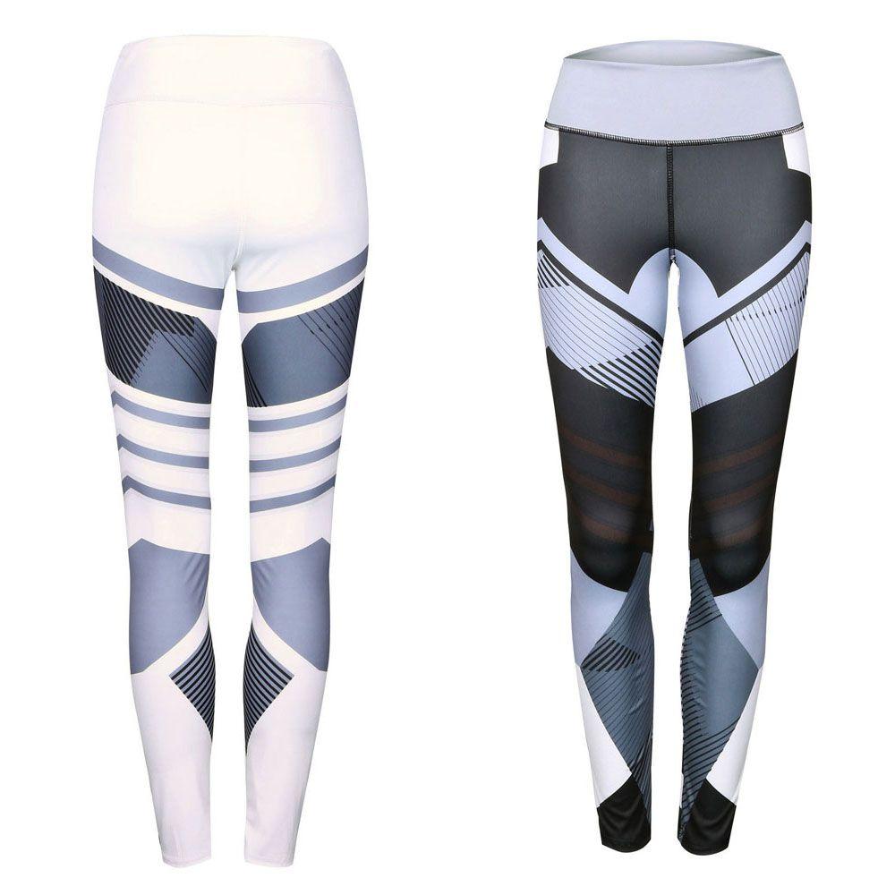 Patrón geométrico Yoga Pantalones Mujer Fitness Pantalones Leggings Transpirable Running Sexy Medias Deporte Gym Leggins Atlético Workout Sportswear