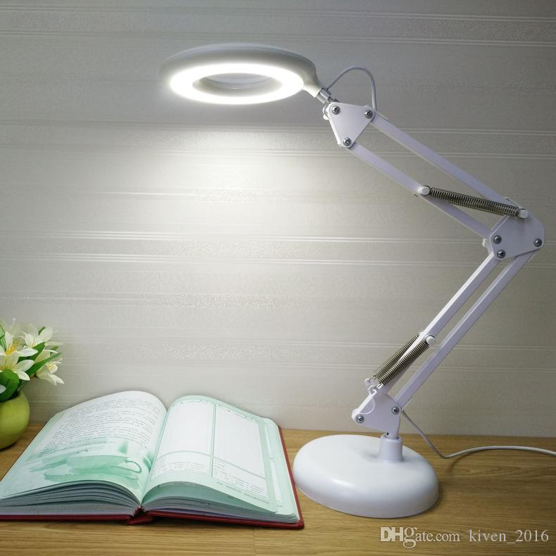 Led long arm folding lamp with magnifying glass function reading light third gear dimming student eye protection LED Table lamp lighting