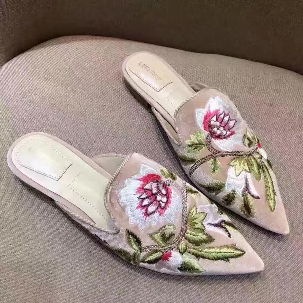 0eaf6b8e1ff6e5 Acheter Fleur Flattie Broderie Pantoufles Maison Chaussures Simples Albert  Velours Brodé Chaussures En Peau De Mouton Bottes Muller De $25.63 Du ...