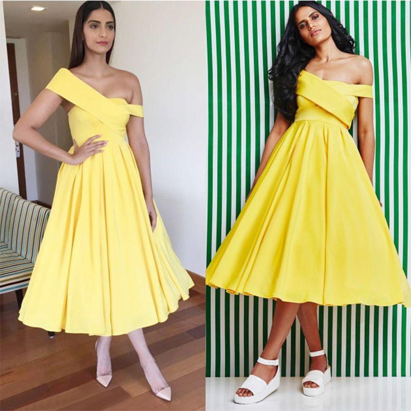 Yellow Summer Party Prom Dresses Cheap A Line Tea Length Girls ...