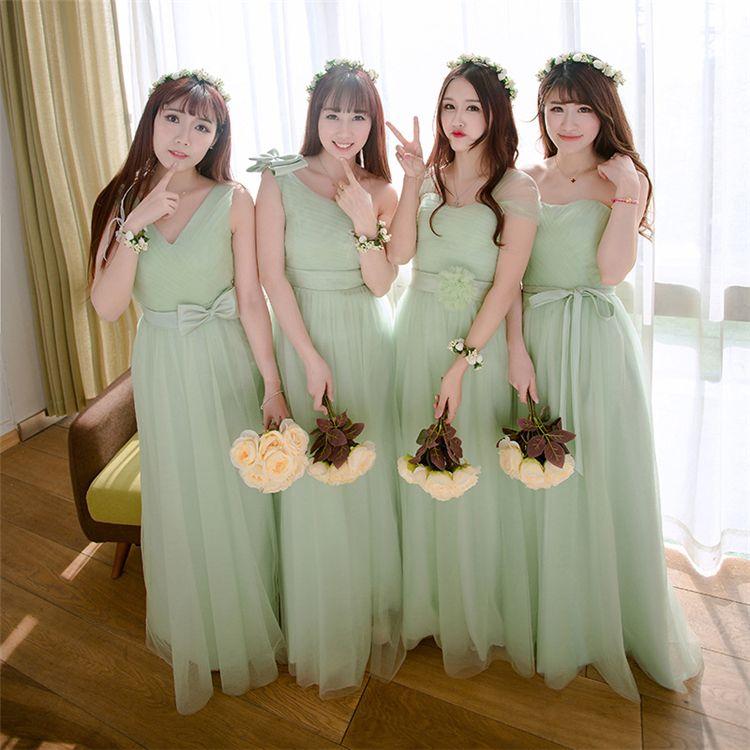 2017 Elegant aqua wedding dresses bridesmaid girls cheap bow chiffon sweety wedding guest dress12
