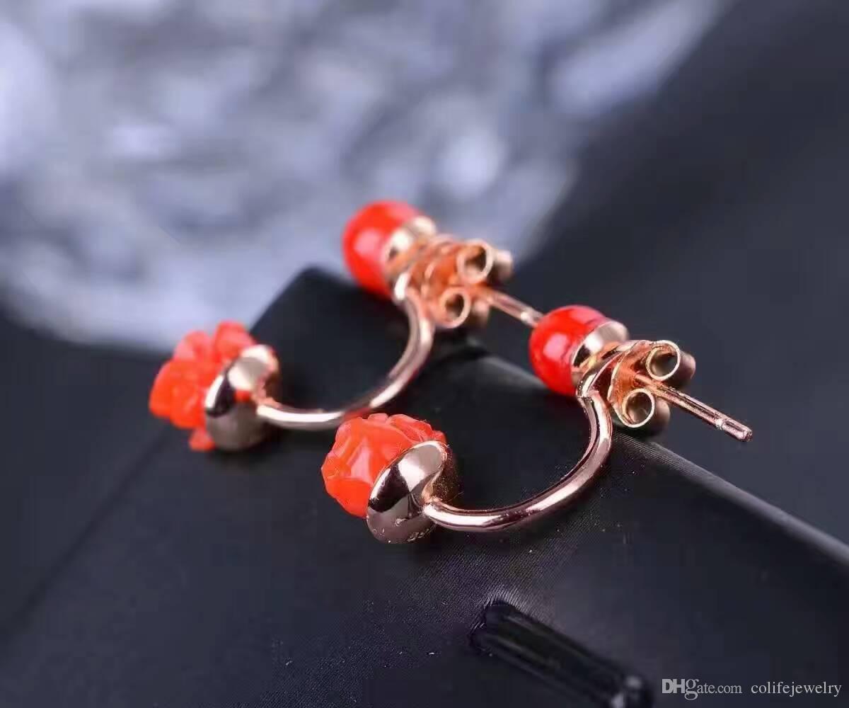 Moda orecchini di corallo rosso orecchini a forma di fiore naturale corallo rosso solido argento 925 orecchini di corallo gioielli gioiello romantico donna