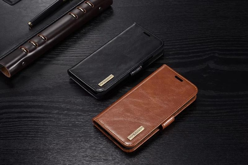 Genuine Real Leather Wallet Case For iphone X 8 7 Plus 6 Galaxy Note 8 Magnetic Removable Detachable Flip Cover ID Card Slots Card Pouches