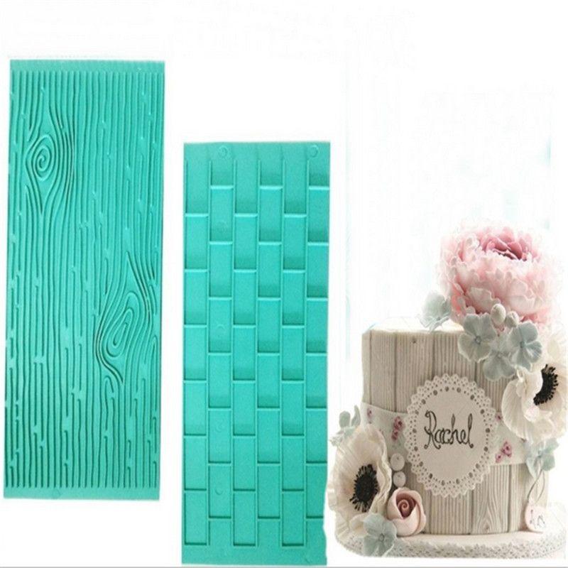 Bakeware Texture 2-piece Mold Tree Bark Brick Wall Impression Moulds Gum Paste Impression Mat Fondant Cupcake Wedding Gift Decoration