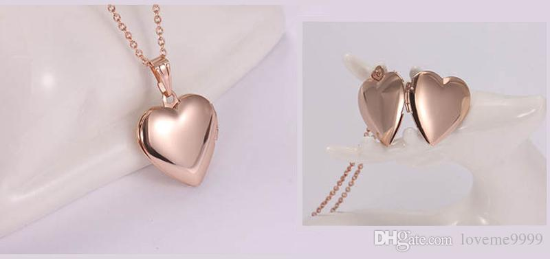 Lover 18K Rose gold Stainless Steel Keepsake Jewelry Rose Heart Shape Photo Frame Locket Real Pendant Necklace For girls Jewelry