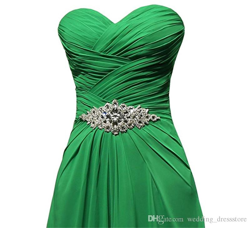 Long Evening Dresses 2017 Abito Lungo Cerimonia Donna Green Chiffon Beaded Cheap A Line Prom Gowns