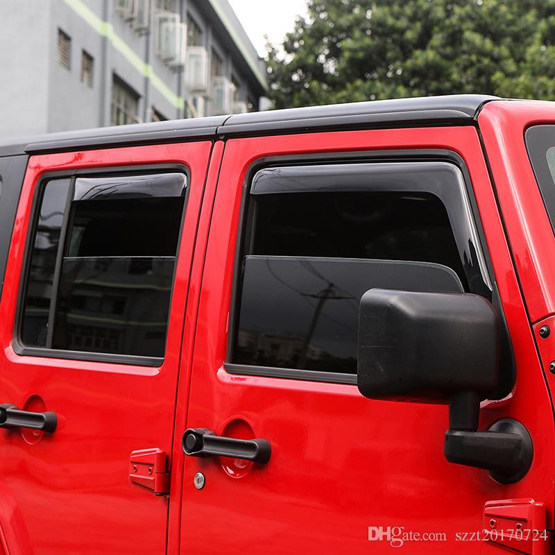 Window visors Car Built-in Rain Stall 4 Door High Quality Auto Side window deflector Fit For Jeep Wrangler 2007-2017