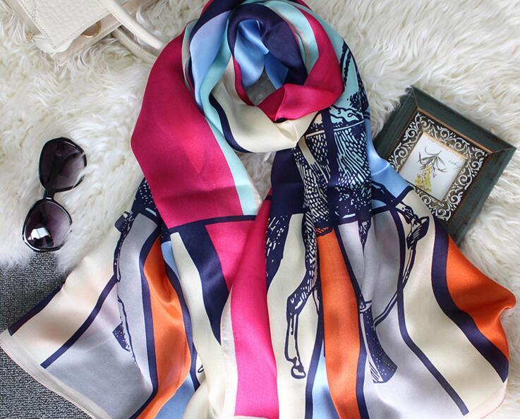 Moda feminina verão pashimina impressão lenços de seda lenço de cetim tamanho grande cachecol de praia estilo de luxo frete grátis