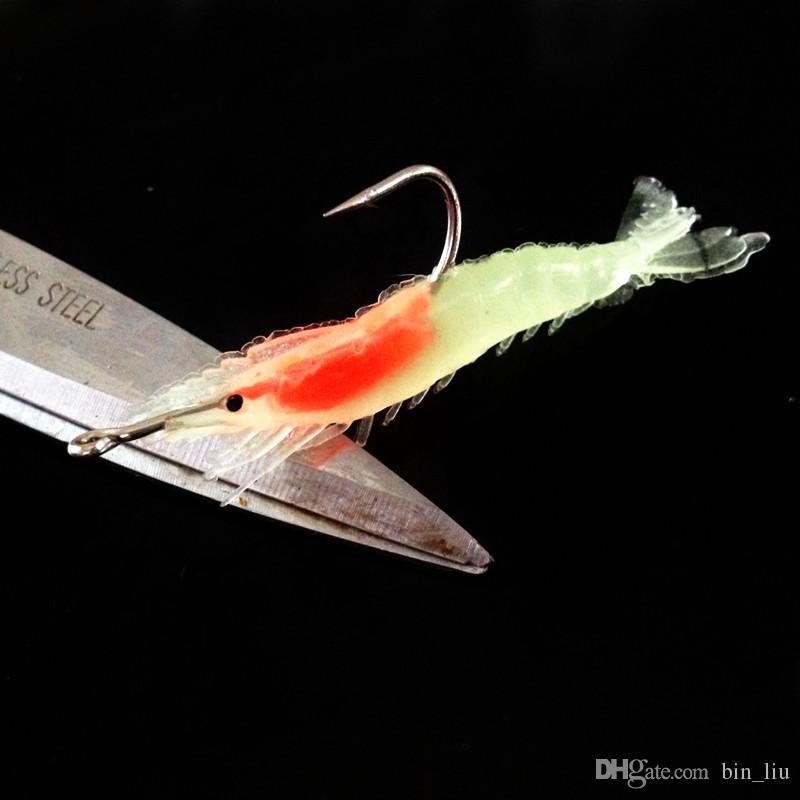 / 4 Farben mischte Shrimp PVC Gummiköder Köder 6cm 3g Pesca Einzelangelhaken BL_8