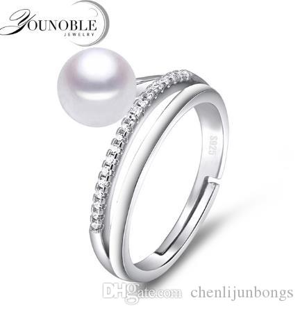 Freshwater preal ring 8-9mm sterling silver 925 jewelry,real natural pearl rings for women adjust size anniversary birthday best gift