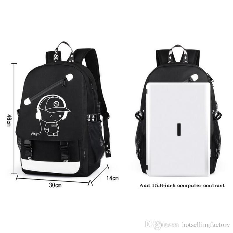 Men Backpack Fashion with External USB Charging charger function Laptop Mochila Cartoon Anime Luminous School Noctilucent Bags