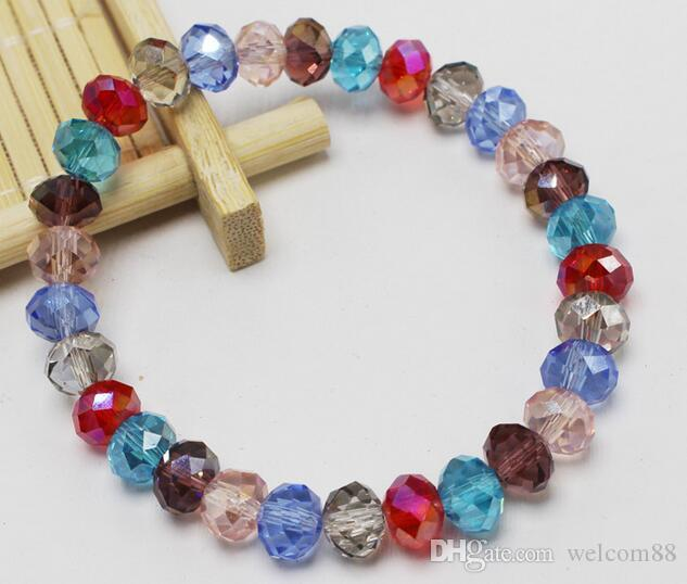 10st / Många Facetted Crystal Glass Beaded Strands Armband För Hantverk Mode Smycken Present CR02