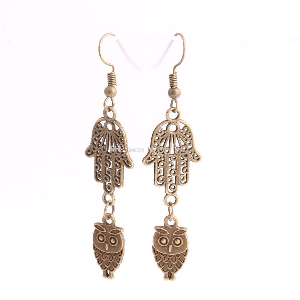 Metal Alloy Zinc Hamsa Hand Connector Animal Owl Pendant Charm Drop Earing Diy Jewelry Making C0720