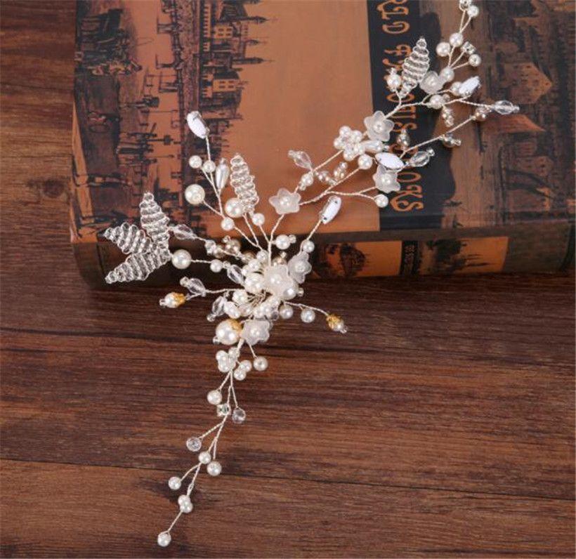 Inci Bandı Alın Saç Zincir Takı Düğün Gelin Çiçek Tiara Taç Saç Aksesuarları Parti Balo Headdress Gümüş Kafa Adet Ucuz