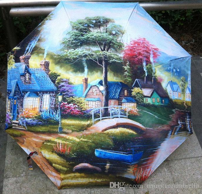 Satın Al Yağlıboya Sanat şemsiye Masal Bahçe Boyama şemsiye Siyah