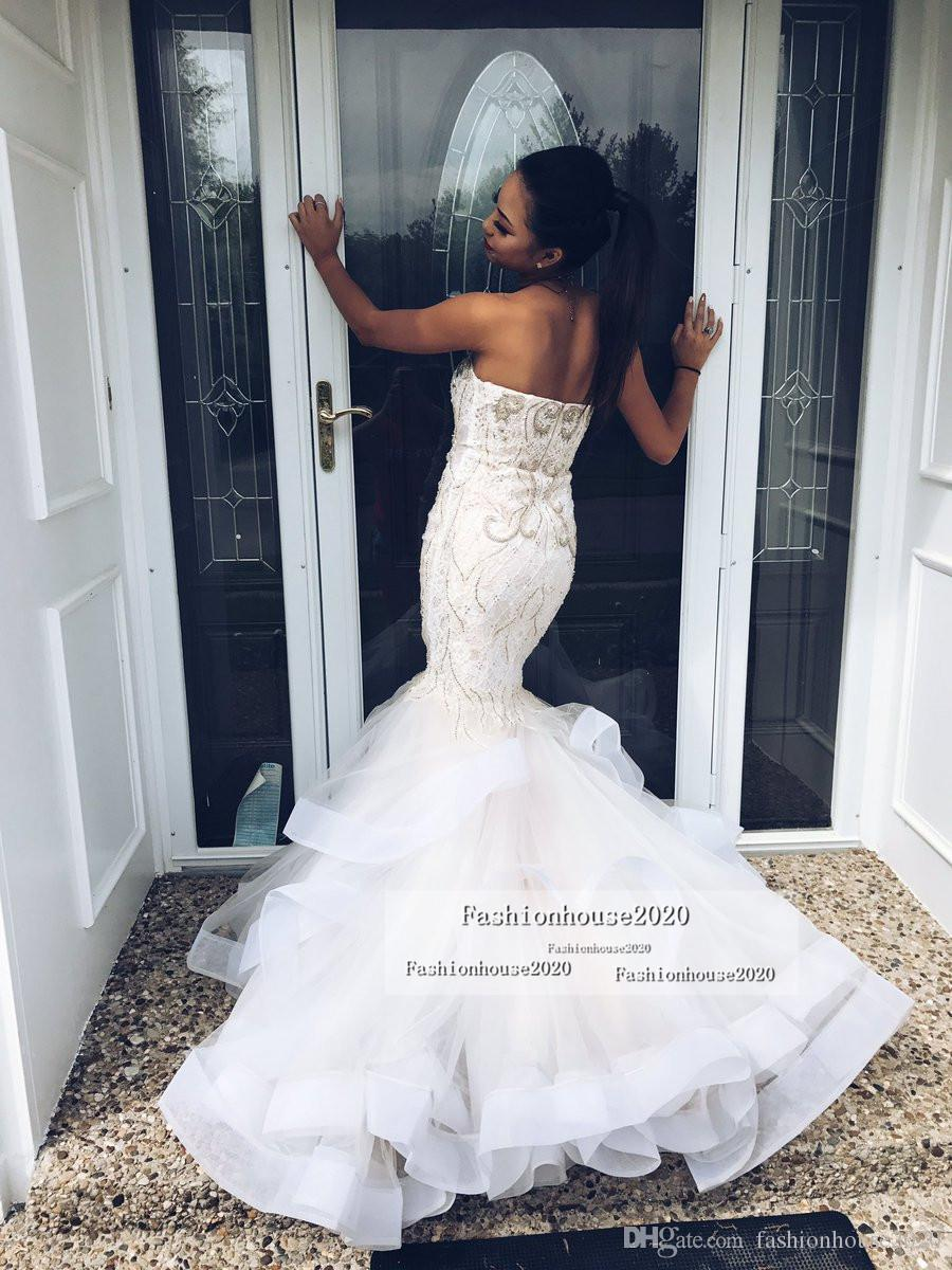 2020 African Style Sexy Mermaid Evening Dresses Sweetheart Appliques Sleeveless Beaded Tiered Skirt Formal Dress Plus Size Prom Party Gowns