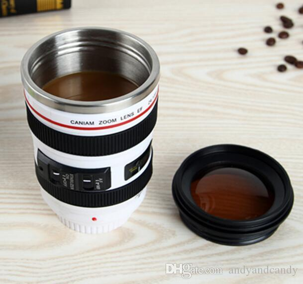 Creative 400ml Camera Lens Mug Stainless Steel Emulation Camera Lens Mugs Coffee Milk Cup Novelty Gift Travel Flasks With Transparent Lid