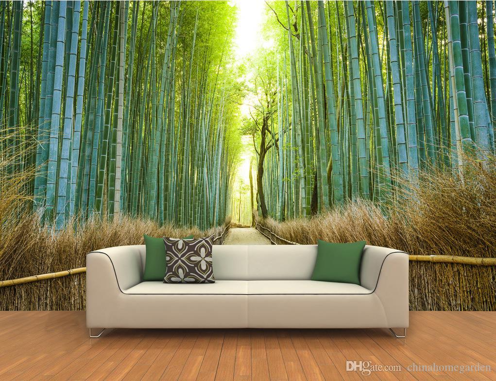 3d High Definition Trails On Both Sides Of The Lush Bamboo