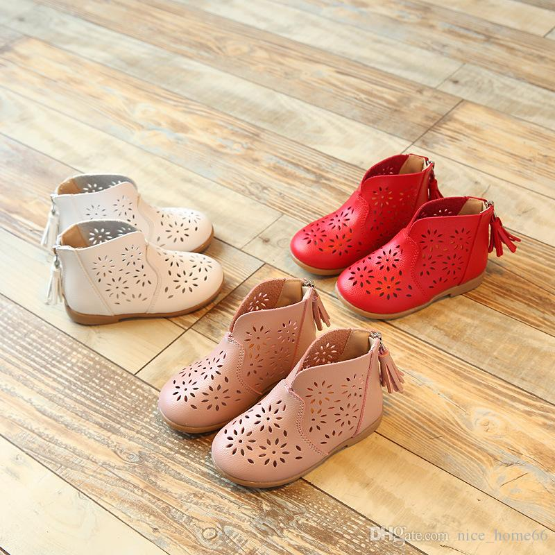 Summer Girls Sandals Children Flowers Hollow Shoes Breathable Soft Bottom Shoes Girls Boots Sweet Princess Shoes