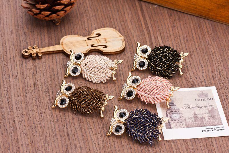 Blue Owl Crystal Rhinestone Brooch ,Bridal Broach, Wedding Accessories Jewelry Brooch ,Bouquet Bridesmaid Dress Hair comb DIY Crafts