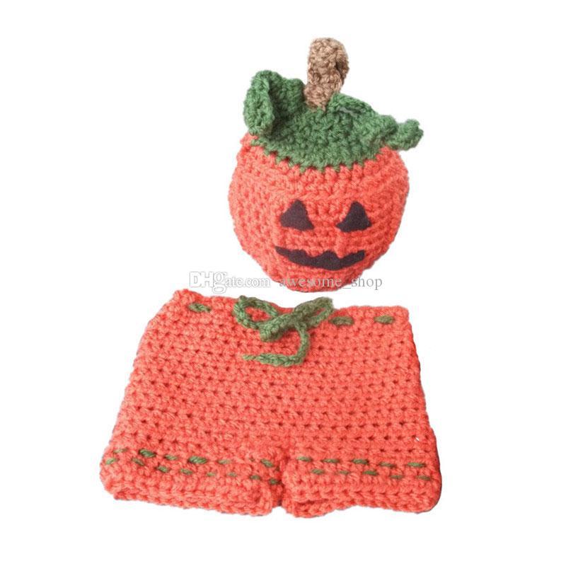 Großhandel Neugeborenen Jack O Laterne Kostüm Handgemachte Knit