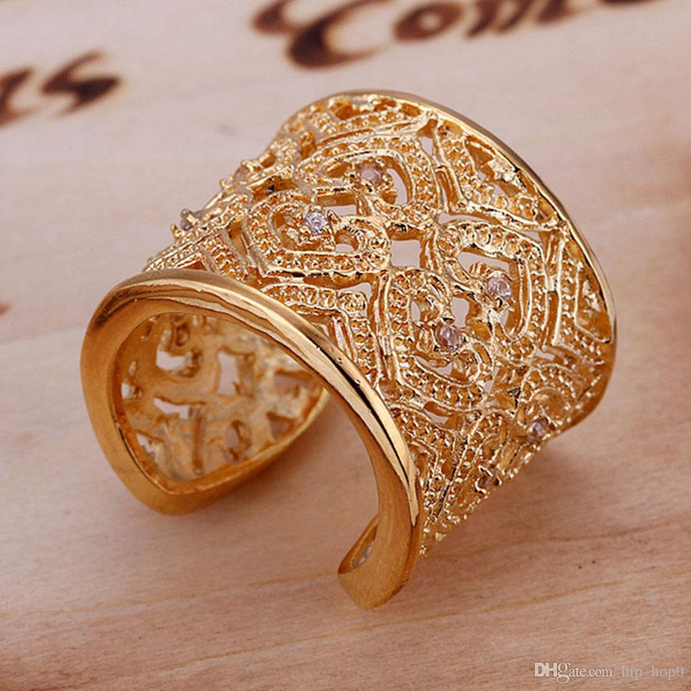 Cluster Rings Inlaid Gemstone Multi-Layer Heart Ring Opening Statement Ring Fashion Gold Plated Crystal Jewelry Zircon Ring-Opened Best Gift