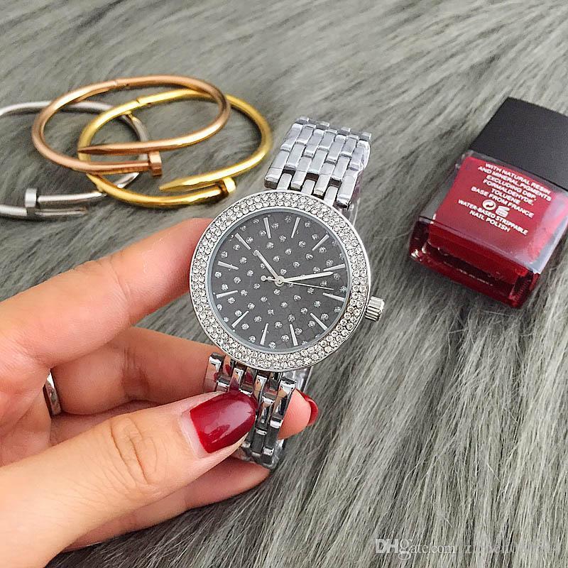 Moda M Diseño de marca de cristal de la muchacha de las mujeres de acero inoxidable del dial banda de cuarzo reloj de pulsera M6056-3