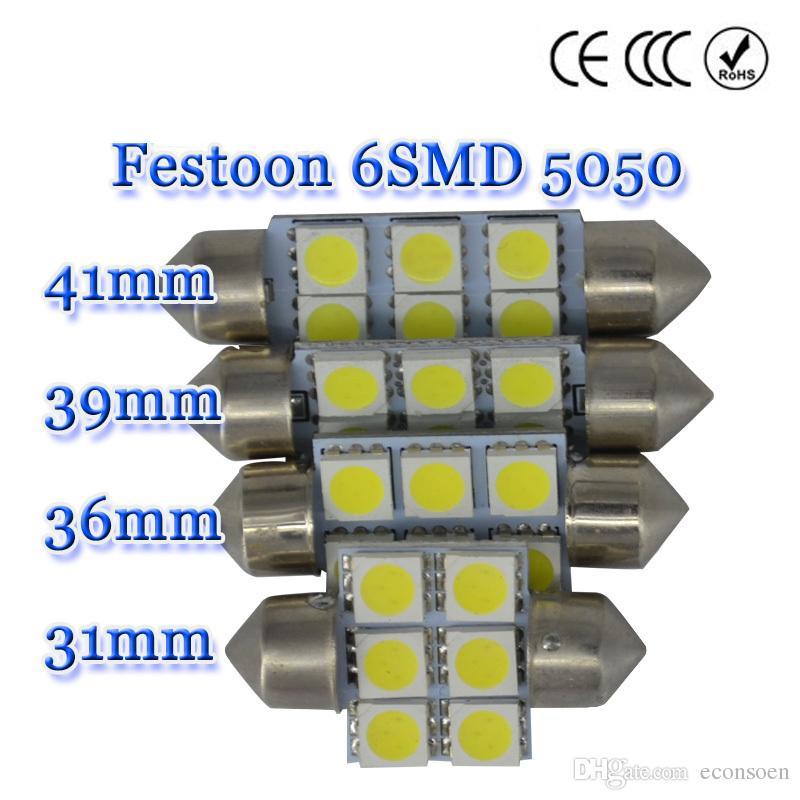 5050 6smd 6 SMD C5w 31mm 36mm 39mm 41mm Weiß C5w Hochwertige Interieur Girlande Auto Licht Lampe Birne neue Led Auto