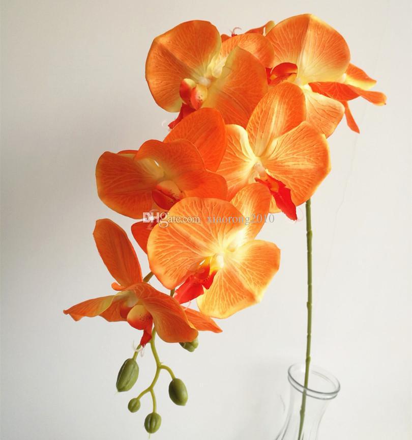 가짜 오렌지 색 나방 난초 긴 줄 호접란 난초 8 머리 / 결혼식 장식 조화를위한 조각