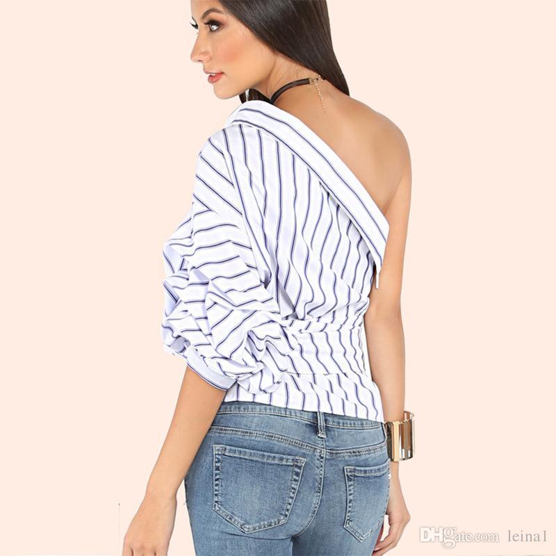 cd5e305fbf0ae 2019 Fashion Summer Stripe One Shoulder Blouse Shirts Women Irregular Fashion  Slim Ruffle Tops Ladies Streetwear Blusas From Leina1