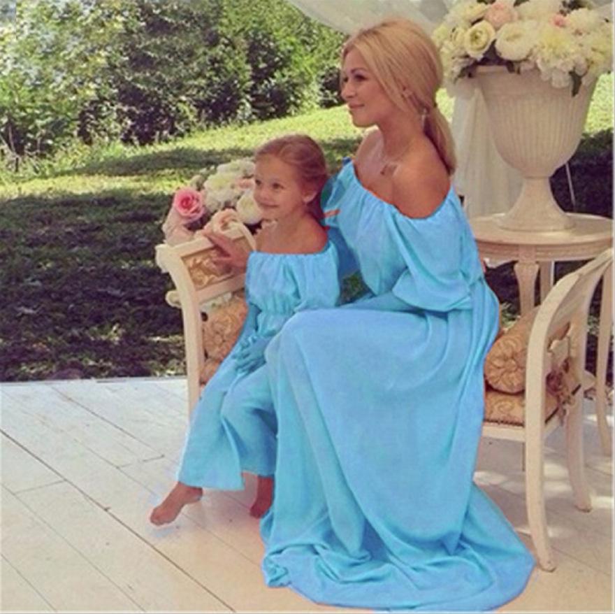 2017 família combinando mãe filha vestidos roupas sólidos rosa mãe e filha vestido de crianças pai criança roupas CC505-CGR1