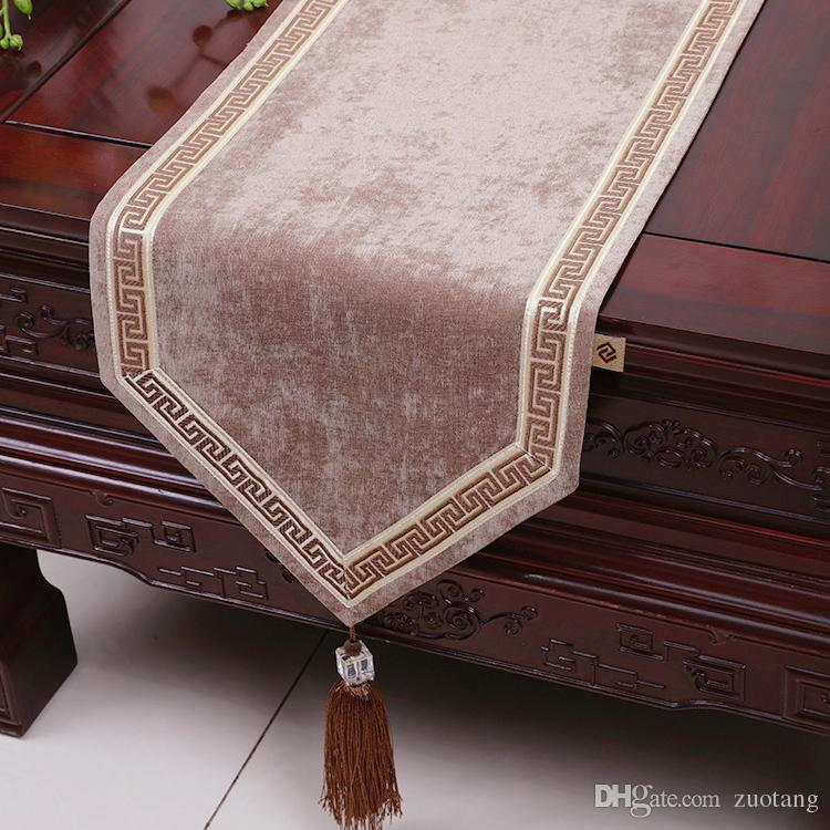 120 Inch Extra Long Patchwork Lace Table Runner High End Velvet Fabric  Dining Table Cloth Luxury European Style Table Mats Placemat Extra Long Table  Runners ...