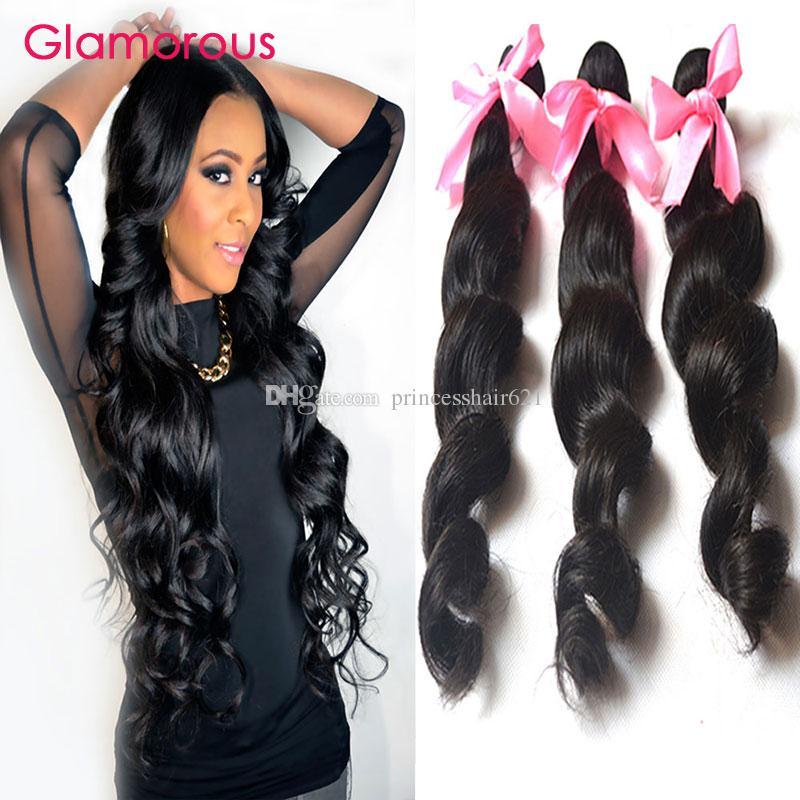 Glamorous 3 Bundles Virgin Malaysian Hair Extensions Loose Wave Real