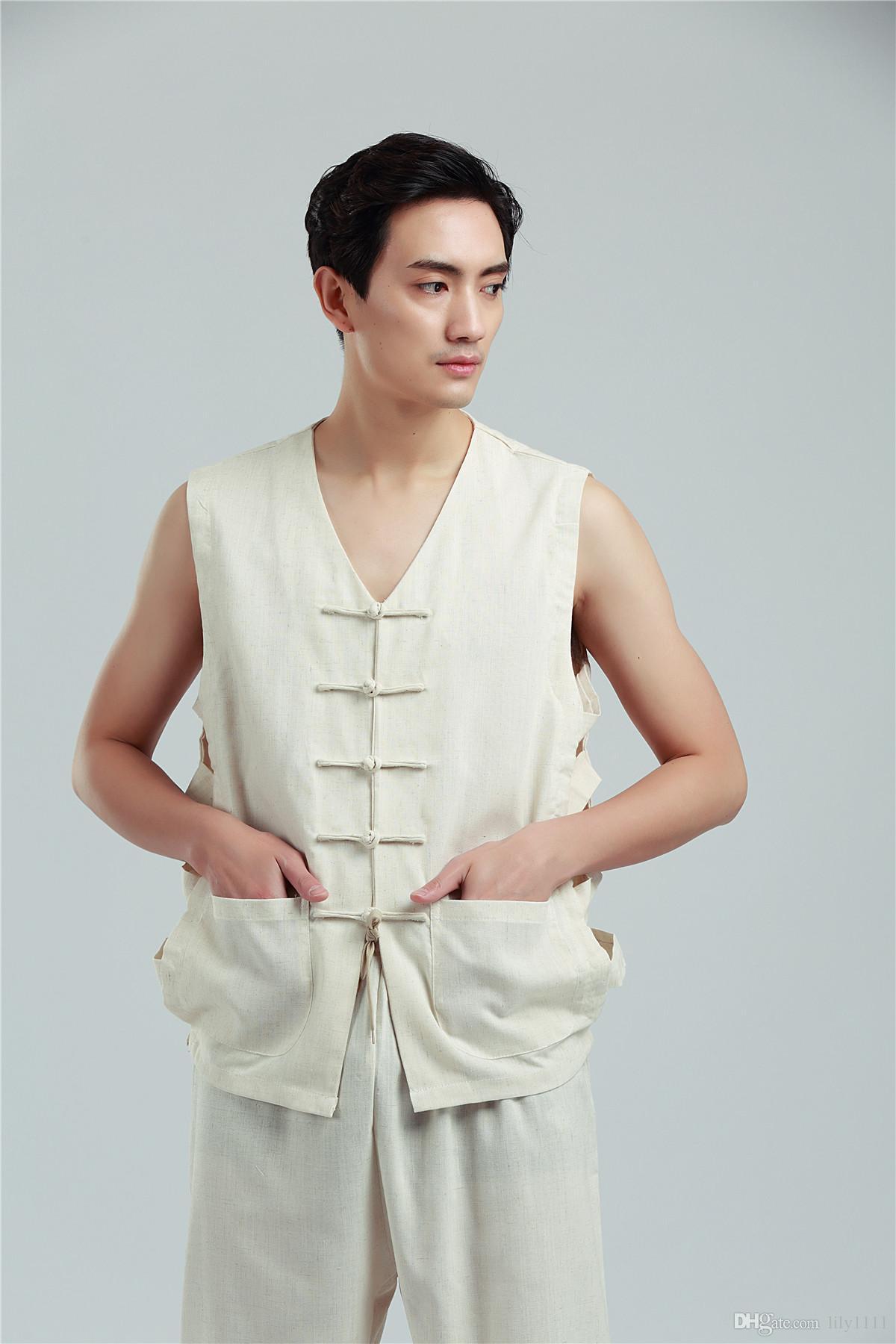 Xangai História Tang chinês terno sem mangas Colete Conjunto de Roupas de linho colete de verão traje nacional dos homens kung fu uniforme