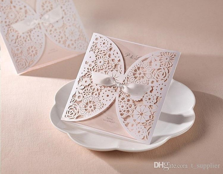 Openwork Lace Ribbon Wedding Invitation Greeting Cards Birthday Gift