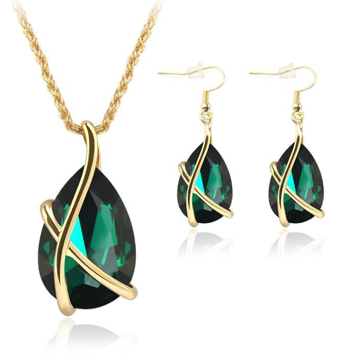 Gold Bridal Jewelry Set Cubic Zirconia Crystal Tear Drop Earrings Pendant Necklaces Set Women Girl Party Gift Fashion Bridal Wedding Jewelry