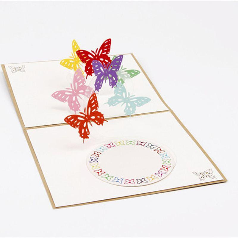 (10 piece/lot)DIY Cute Kawaii Love Butterfly Greeting Card Romantic Carved Hollow Paper Wing Creative Post Card with Envelope