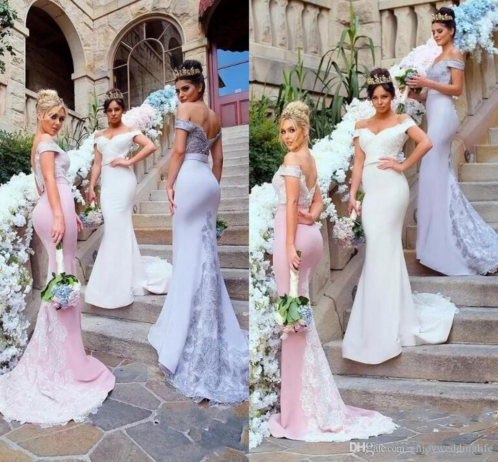 4bc59ef3801 Off The Shoulder Country Style Mermaid Long Bridesmaid Dresses 2017 Vintage  New Elegant Lace Appliques Maid Of Honor Wedding Guest Dresses Bridesmaid  Dress ...