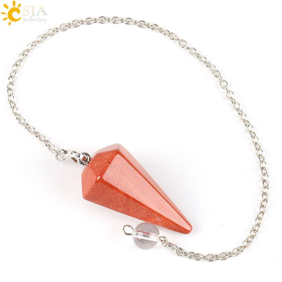 CSJA Men Women Natural Healing Gem Stone Jewelry Raw Material Reiki Pyramid Hexagonal Pendulum Chain Pendant Onyx Agate Amulet E112 A