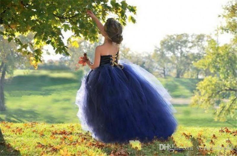 Robes Pageant de la fille de robe de bal bleu marine 2018 une épaule Tulle jupe robe de demoiselle d'honneur à la première fête de mariage de la robe de mariage de Christenning