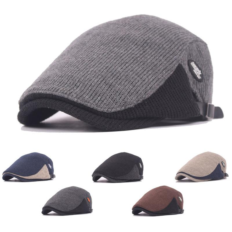 36c4b35f3ad45 Wholesale-Men Knitted Stripe Cotton Hats Caps Beret Peaked Driving ...