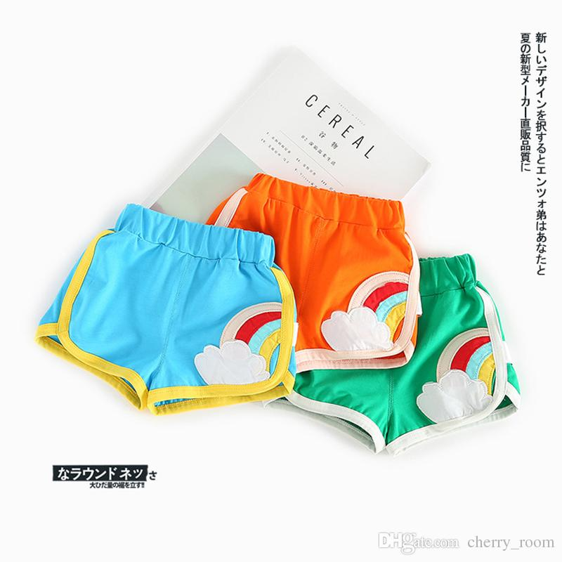 eba9ff994019b 2017 HOT Children s Shorts New Fashion Baby Girls Boys Summer Pants Cute  Rainbow Hot Pants Kids Clothes Shorts Green Blue Orange A7001 Girls Shorts  Sequin ...